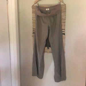 Old Navy gray linen blend fold over waist pants M